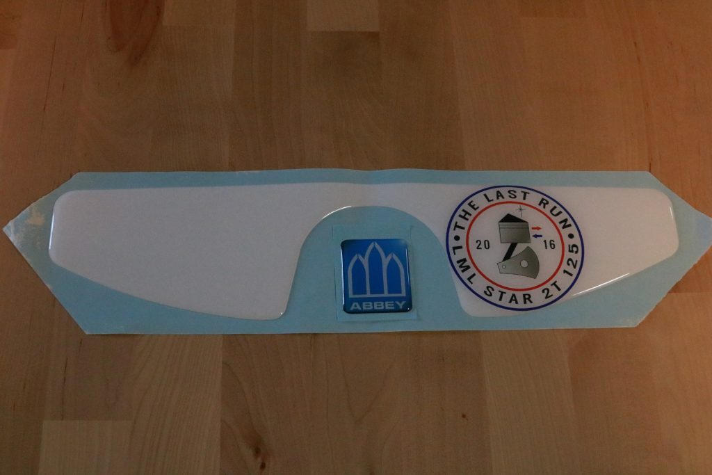 Domed sticker with personalised business name and logo
